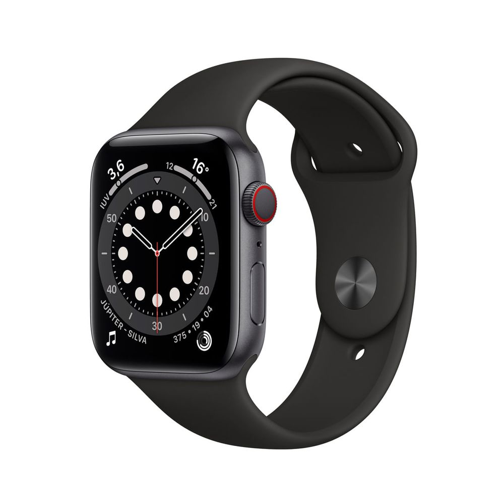 Apple-Watch-Series-6-GPS---Cellular-44mm-Caixa-Cinza-Espacial-de-Aluminio-com-Pulseira-Esportiva-Preta